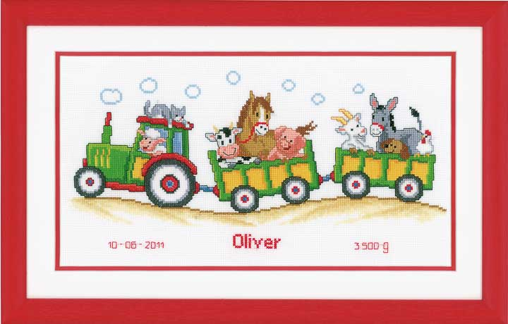 Counted Cross Stitch Kit: Birth Record: Tractor