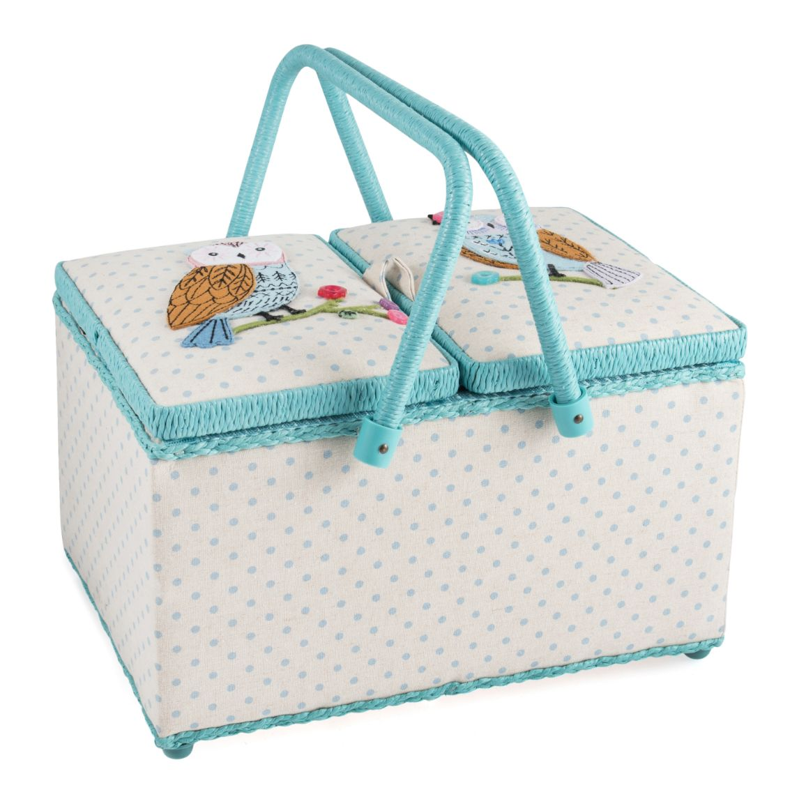 HobbyGift HGTLR_551 | Sewing Box (L) | Twin Lid | Applique Owl Bird Print Sewing Box