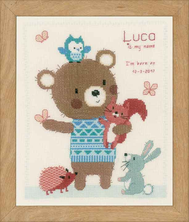 Counted Cross Stitch Kit: Birth Record: Cute Animal Friends Birth Records CSK