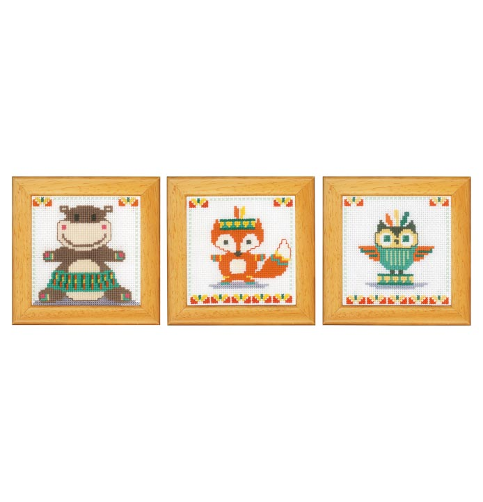 Counted Cross Stitch Kits: Cute Animals (Set of 3)
