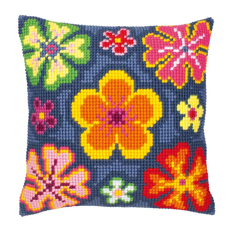 Vervaco Cross Stitch Cushion Kit: Bright Flower Flowers & Nature CSCK