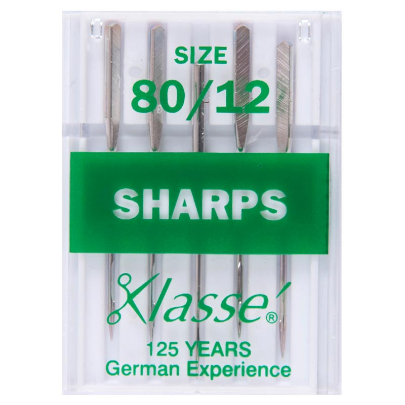 Klasse Sewing Machine Needles: Sharps: 80/12: 5 Pieces
