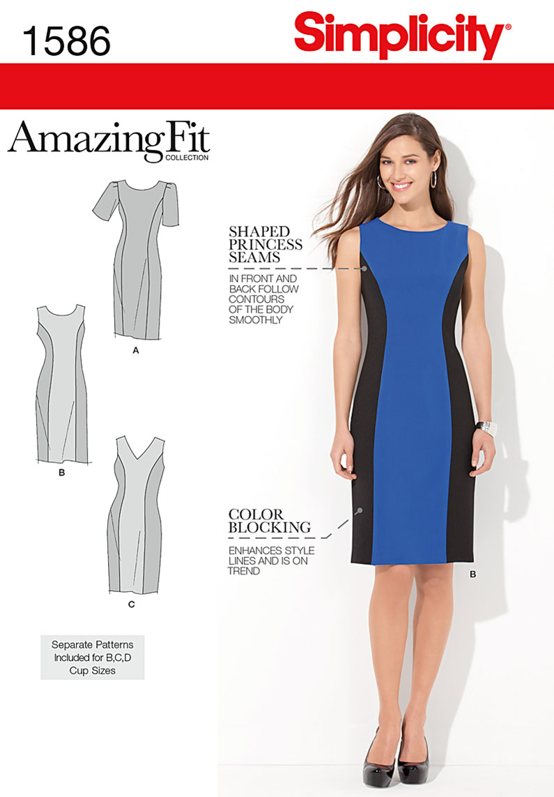 Simplicity Misses and Plus Size Amazing Fit Dress, Size BB (20W-28W)