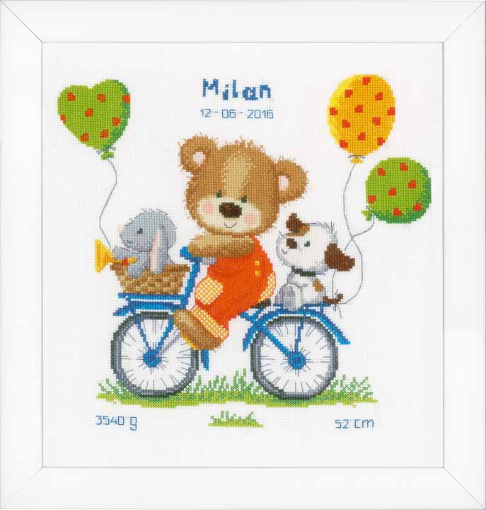 Counted Cross Stitch Kit: Birth Record: Cycling Bear