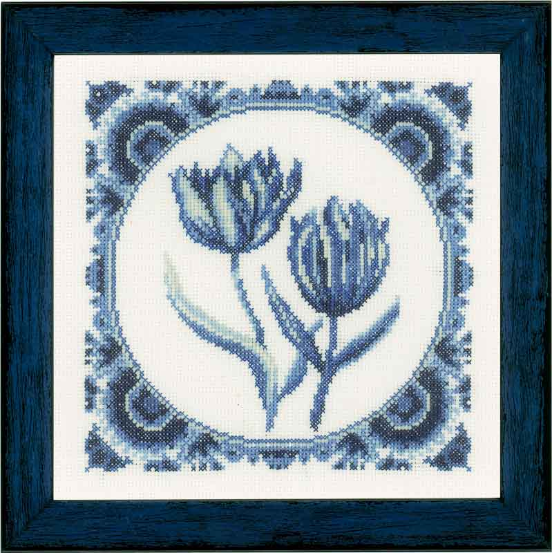 Lanarte Counted Cross Stitch Kit: Delft Tulips