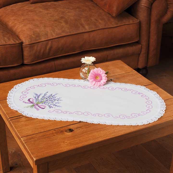 Vervaco Embroidery Kit: Doily: Lavender Runners and Tablecloth