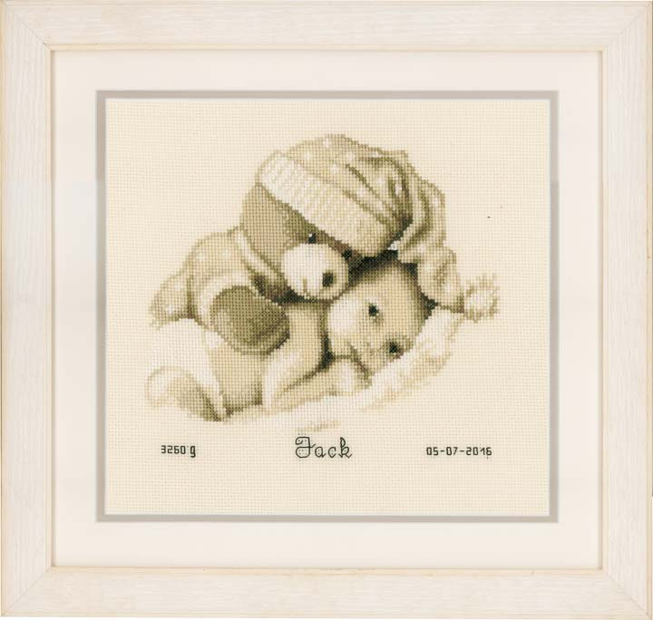 Counted Cross Stitch Birth Record: Baby & Teddy Birth Records CSK