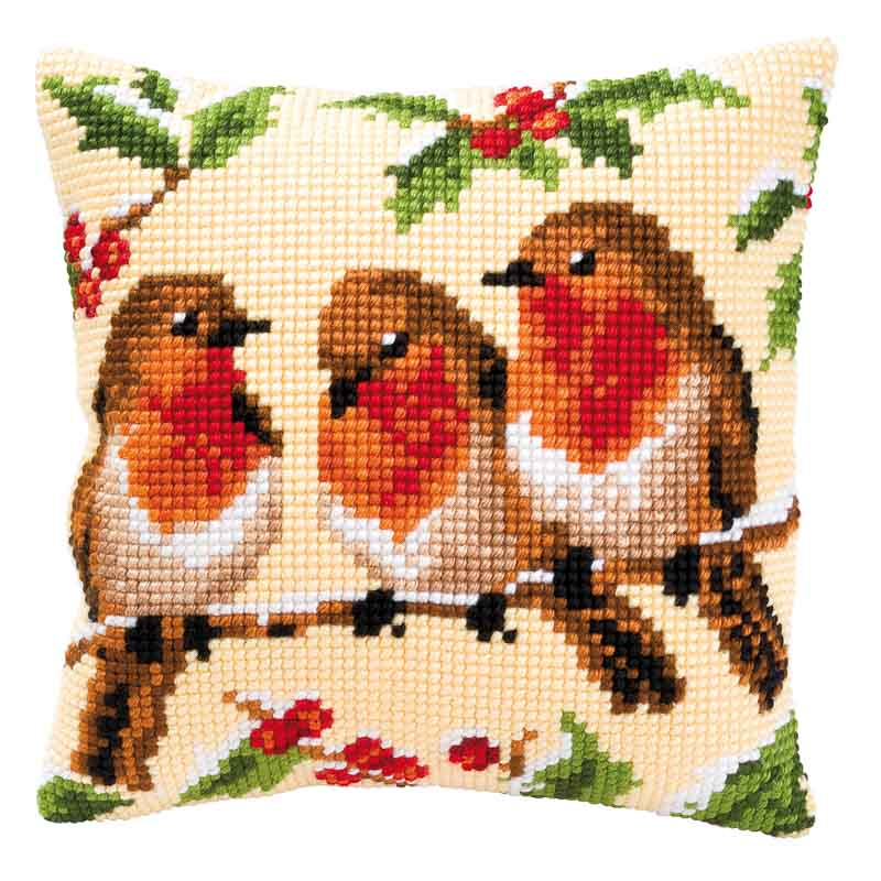 Vervaco Cross Stitch Cushion Kit: Robins Flowers & Nature CSCK