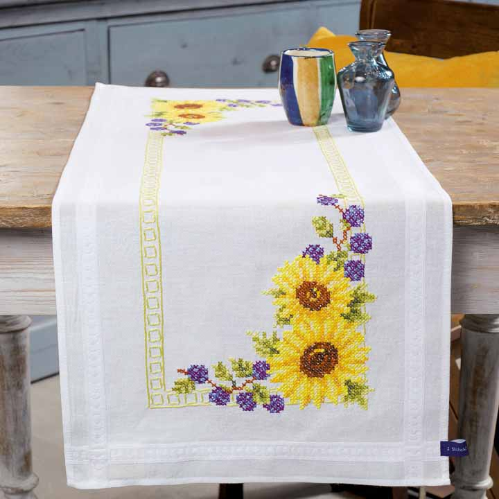 Vervaco Embroidery Kit: Runner: Sunflowers Runners and Tablecloth