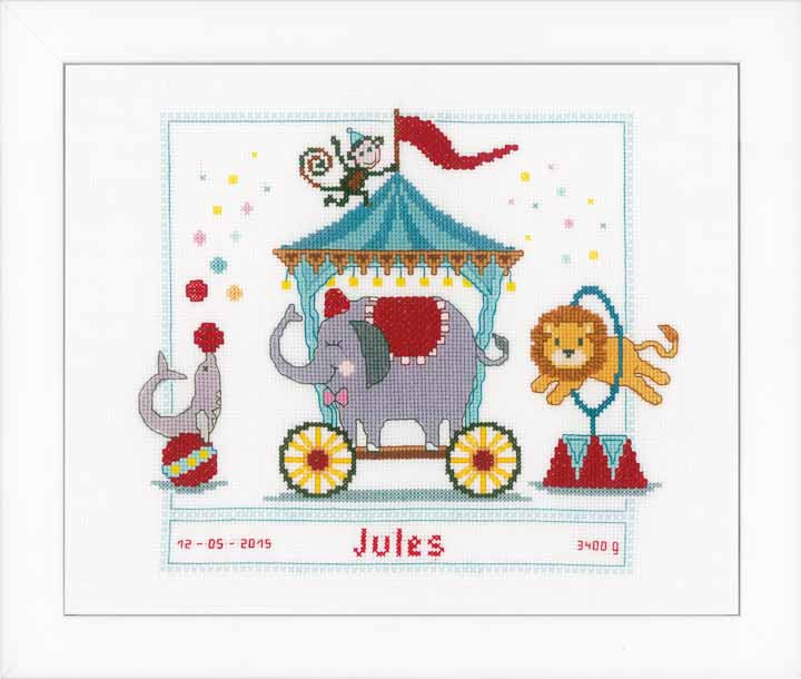 Counted Cross Stitch: Birth Record: Circus