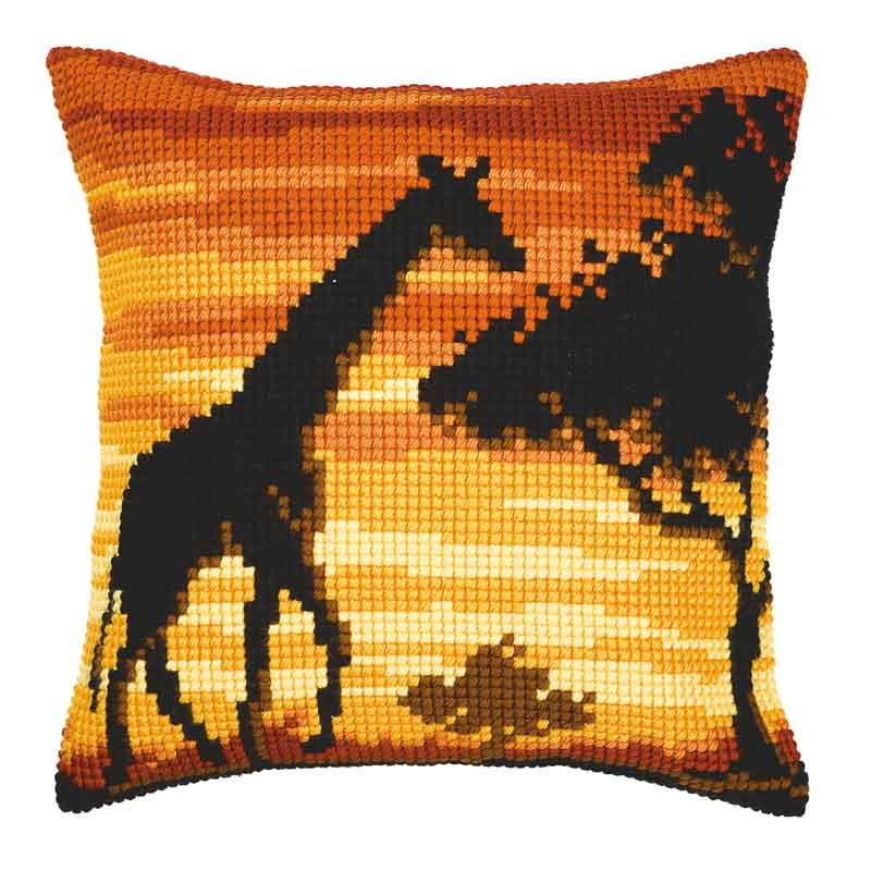 Vervaco Cross Stitch Cushion Kit: Sunset Giraffe