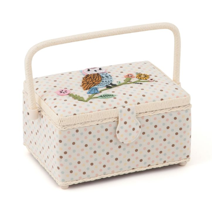 HobbyGift HGM_551 | Sewing Box (M) | Applique Owl Bird Print Sewing Box