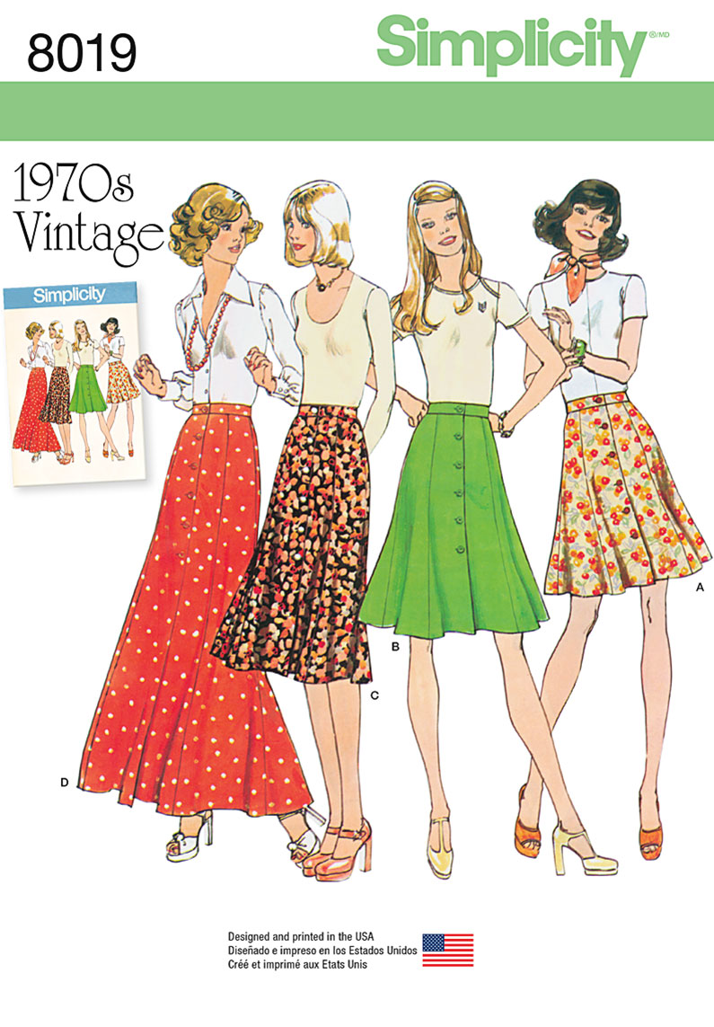 Simplicity Misses Vintage 1970's Skirts, Size H5 (6-8-10-12-14)