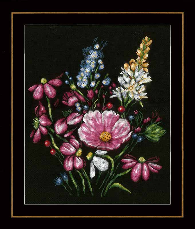 Lanarte Counted Cross Stitch Kit: Flowers (Aida)