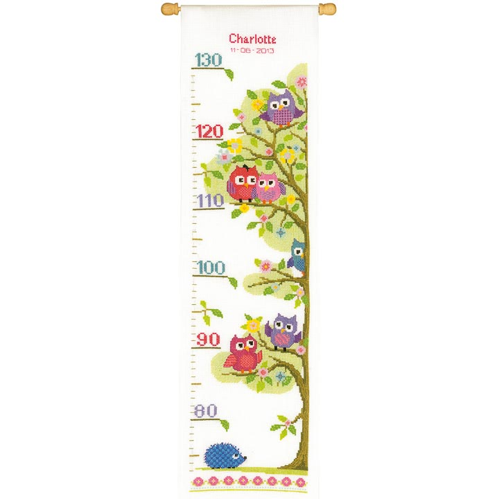 Counted Cross Stitch Kit: Height Chart Owls