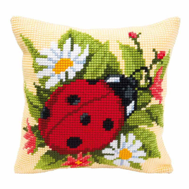 Cross Stitch Cushion Kit: Ladybird Bugs & Insects Cushion Kit
