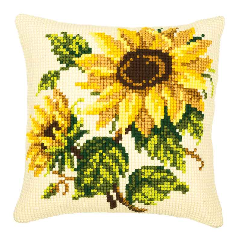 Vervaco Cross Stitch Cushion Kit: Sunflowers Flowers & Nature CSCK