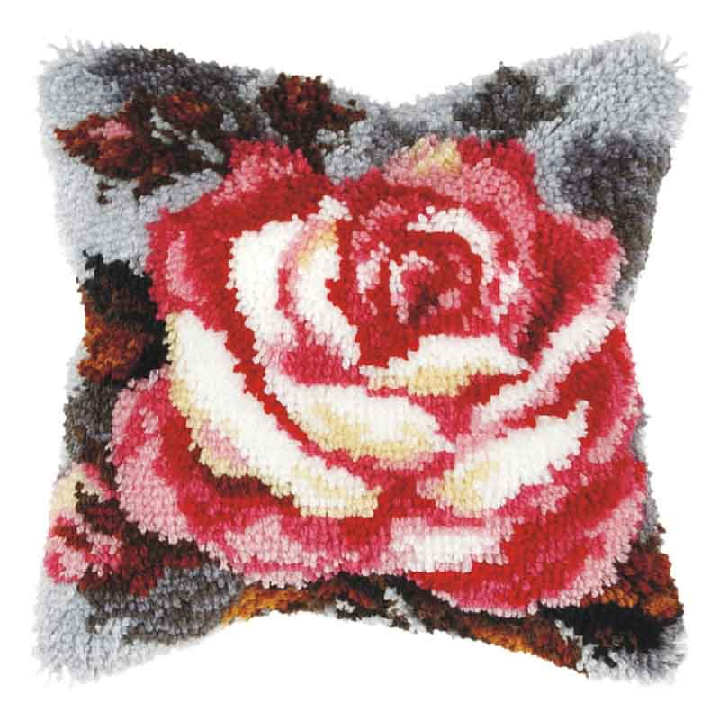 Orchidea Latch Hook Kit: Cushion: Large: Rose