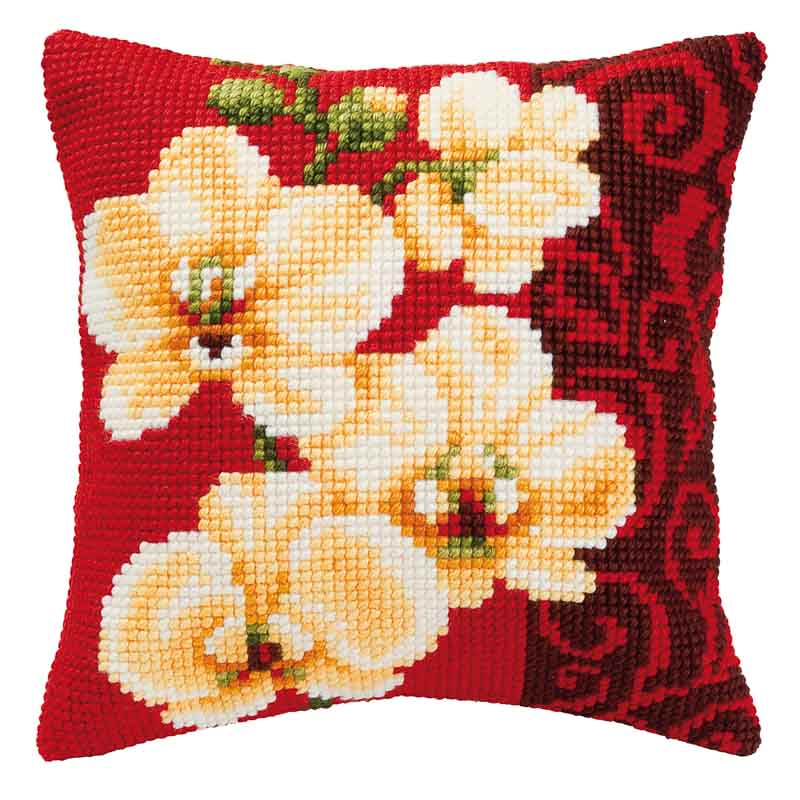 Vervaco Cross Stitch Cushion Kit: Orchid Flowers & Nature CSCK