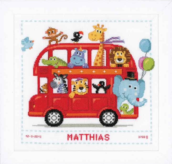 Counted Cross Stitch Kit: Birth Record: Funny Bus Birth Records CSK