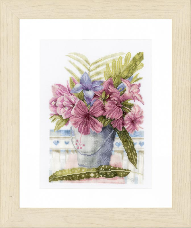 Lanarte Counted Cross Stitch Kit: Flowers in Bucket (Evenweave)