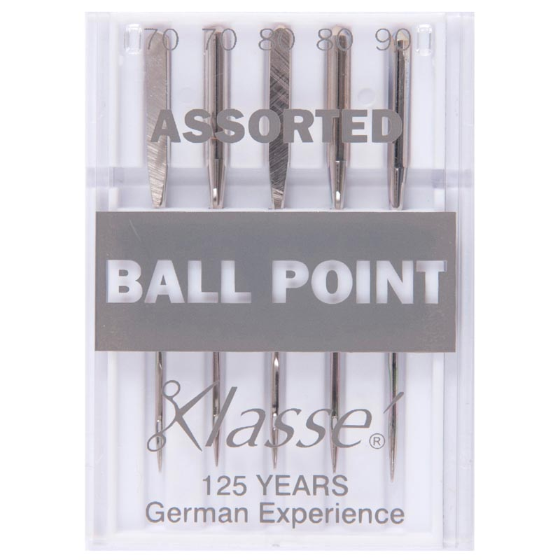 Klasse Sewing Machine Needles: Ball Point: Assorted: 5 Pieces
