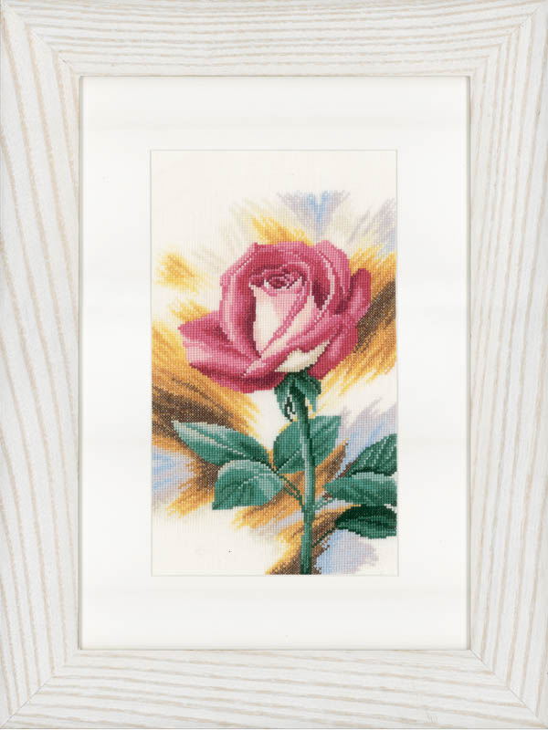 Lanarte Counted Cross Stitch Kit: Shy Rose (Linen)