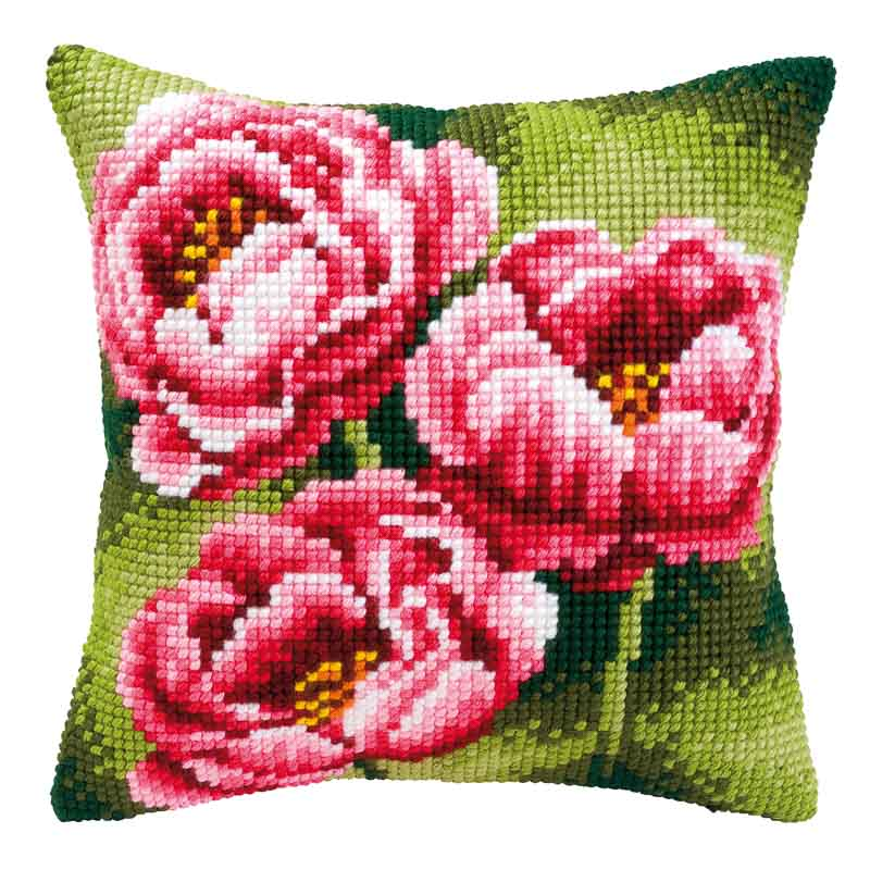 Vervaco Cross Stitch Cushion Kit: Anemones Flowers & Nature CSCK