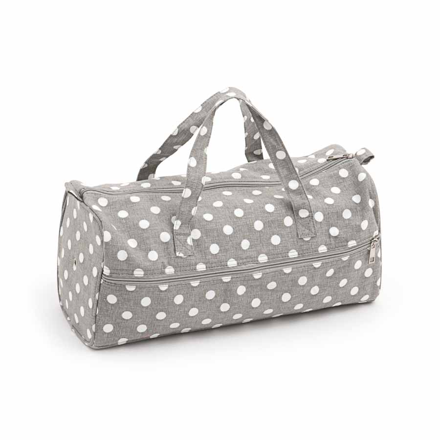 HobbyGift MR4698_268 | Knitting Bag: Grey Linen Polka Dot | Clearance