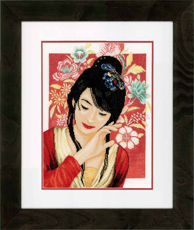 Lanarte Counted Cross Stitch Kit: Asian Flower Girl (Evenweave) Flowers & Nature CSK