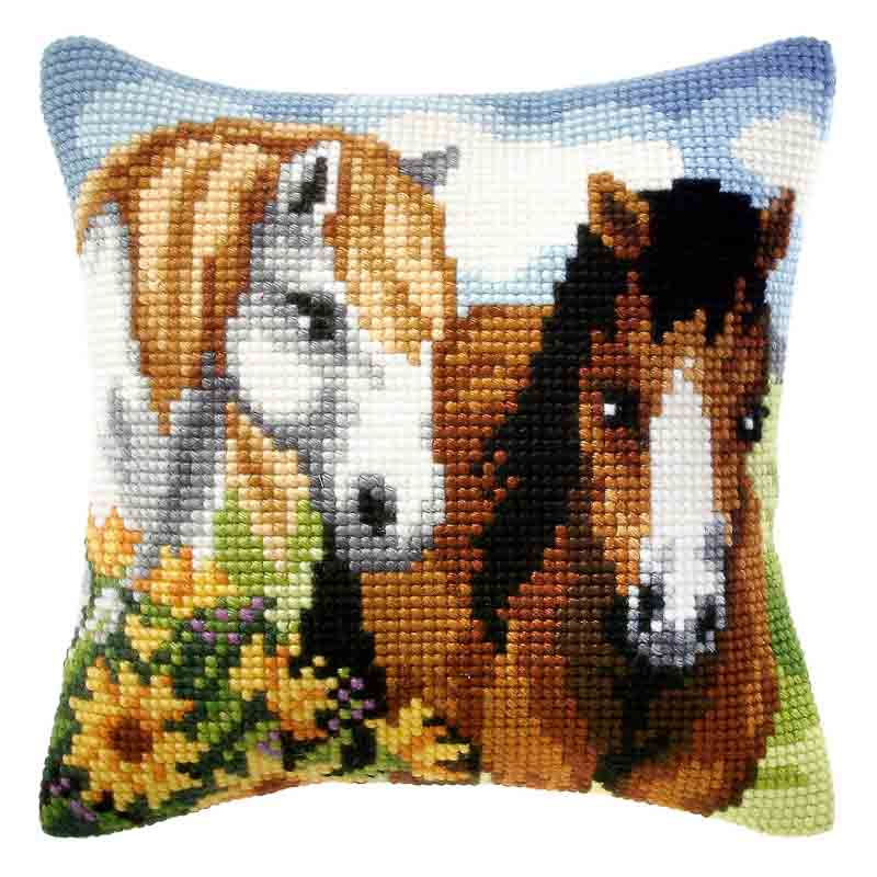 Orchidea Cross Stitch Kit: Cushion: Large: Horses