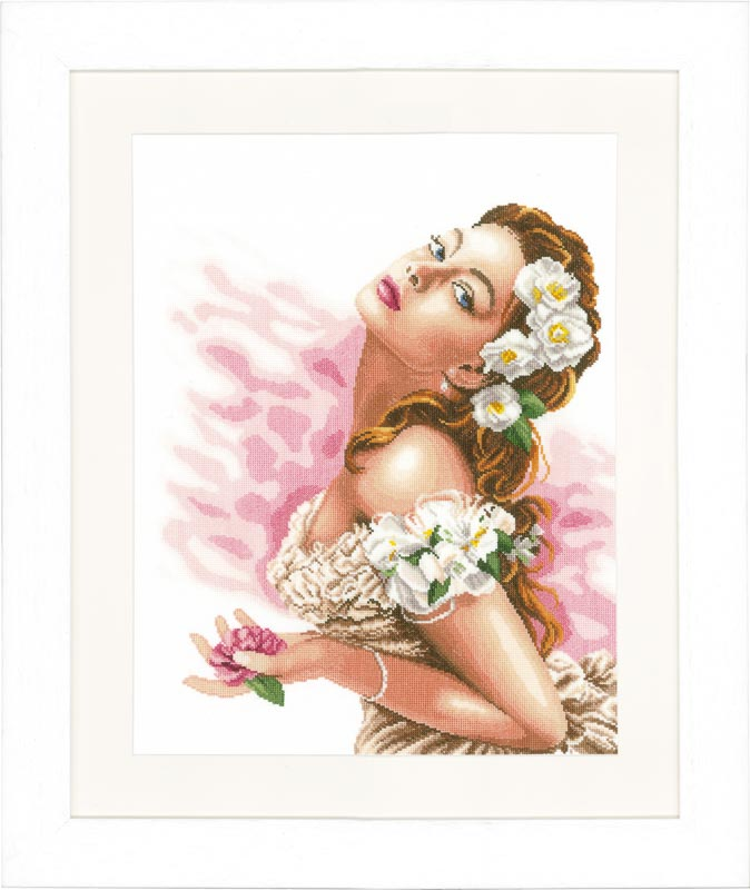 Lanarte Counted Cross Stitch Kit: Lady of the Camellias (Evenweave)