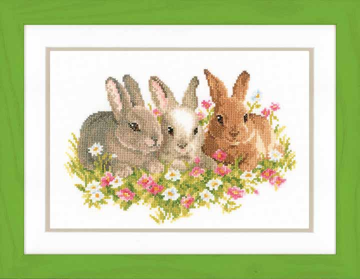 Counted Cross Stitch Kit: Three Rabbits Animals & Birds CSK