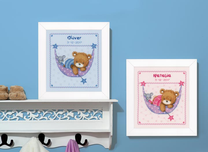 Counted Cross Stitch: Birth Record: Little Bear in Hammock (Blue) Birth Records CSK