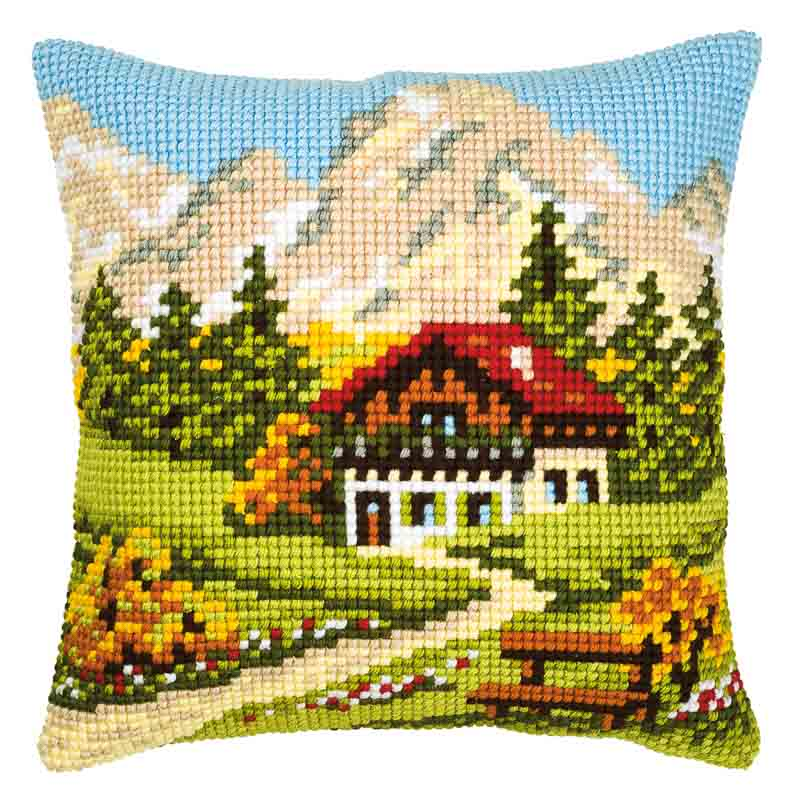 Vervaco Cross Stitch Cushion Kit: Mountain Scene Buildings CSCK