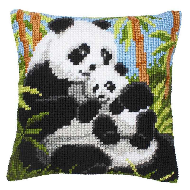 Vervaco Cross Stitch Cushion Kit: Panda Bears & Mice CSCK