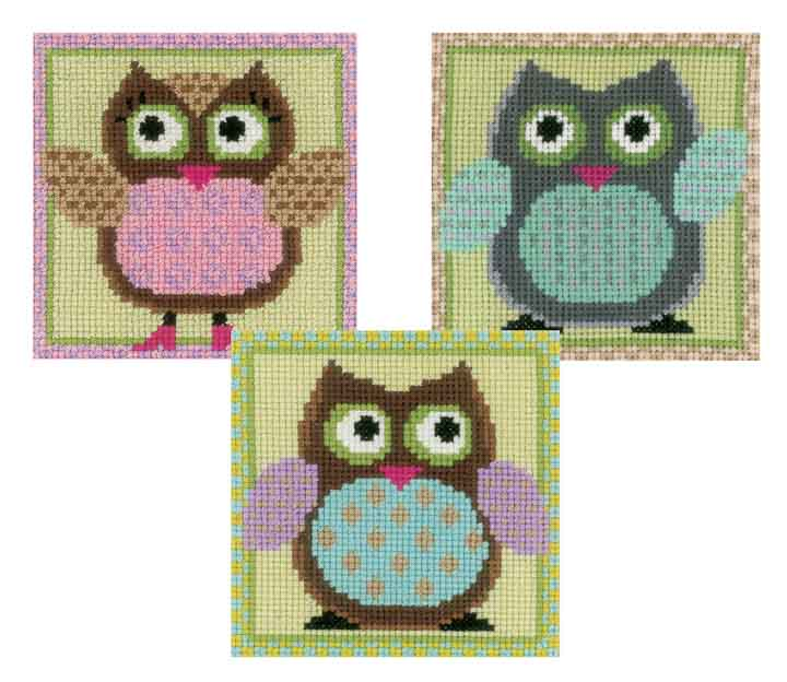 Counted Cross Stitch: Funny Owls Trio