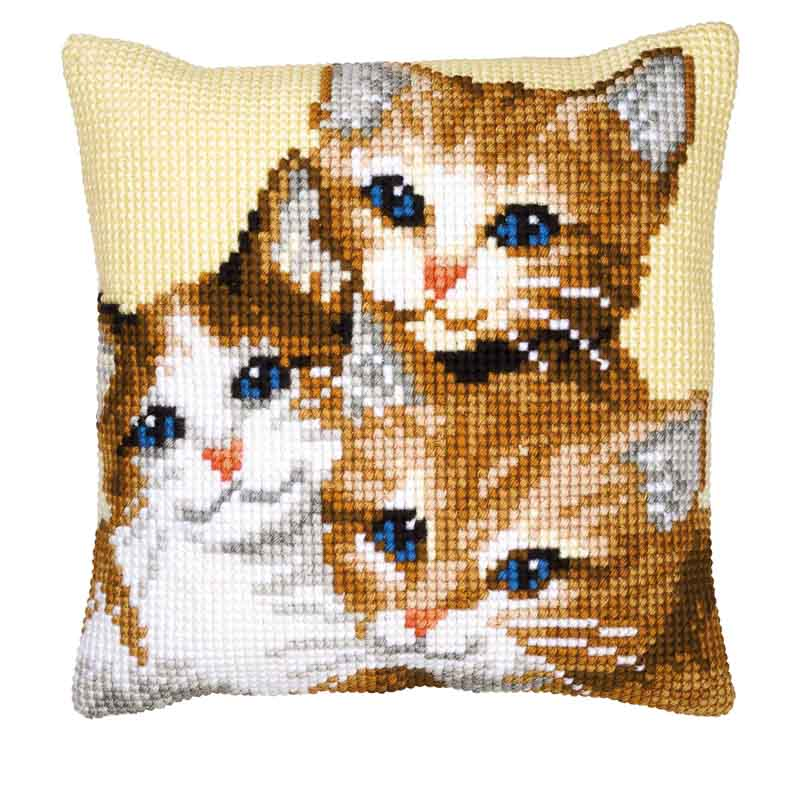 Vervaco Cross Stitch Cushion Kit: Kittens Cats & Dogs CSCK