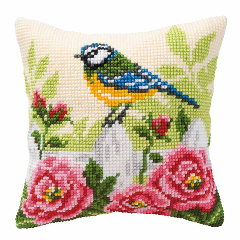 Vervaco Cross Stitch Cushion Kit: Blue Tit Flowers & Nature CSCK
