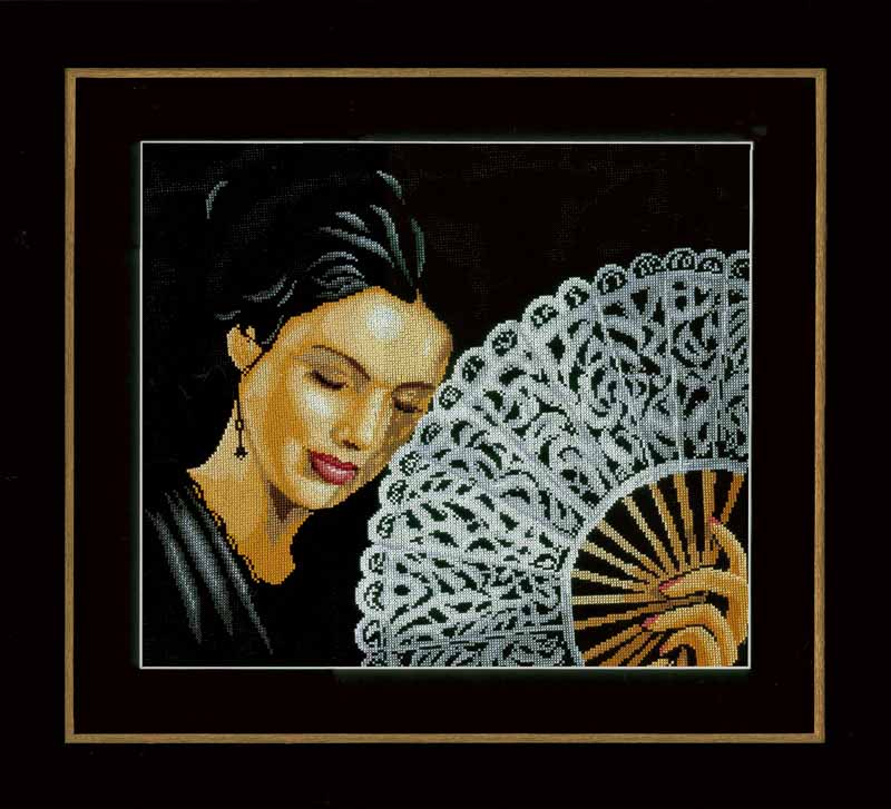 Lanarte Counted Cross Stitch Kit: Woman with a Fan (Aida,B) Beauty & Love CSK
