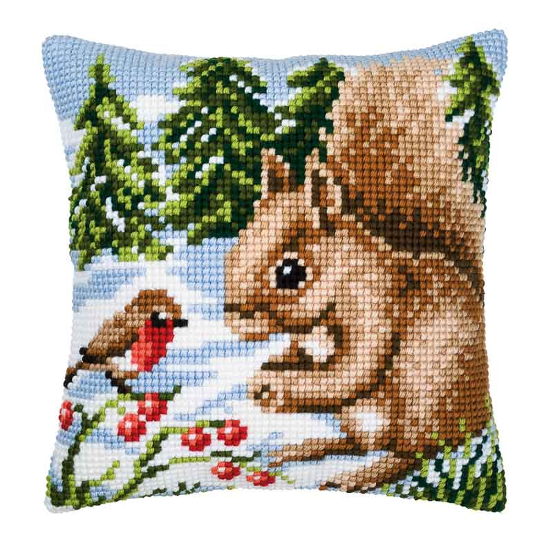 Vervaco Cross Stitch Cushion Kit: Winter Scene Squirrel/Robin Animals & Birds CSCK