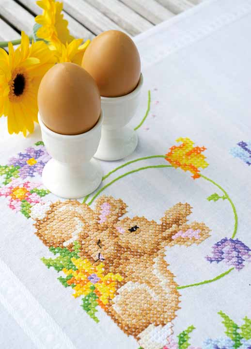 Vervaco Embroidery Kit: Runner: Rabbits Runners and Tablecloth