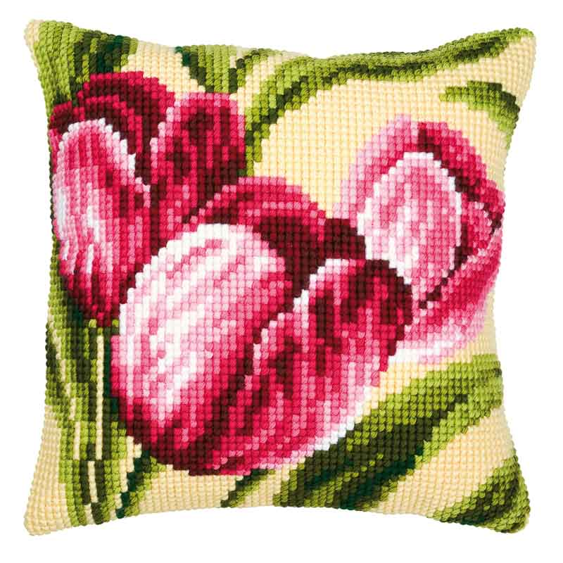 Vervaco Cross Stitch Cushion Kit: Tulips Flowers & Nature CSCK