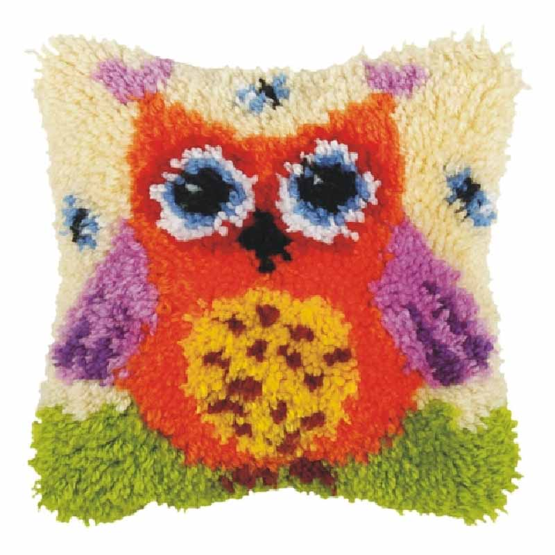 Orchidea Latch Hook Kit: Cushion: Small: Orange Owl