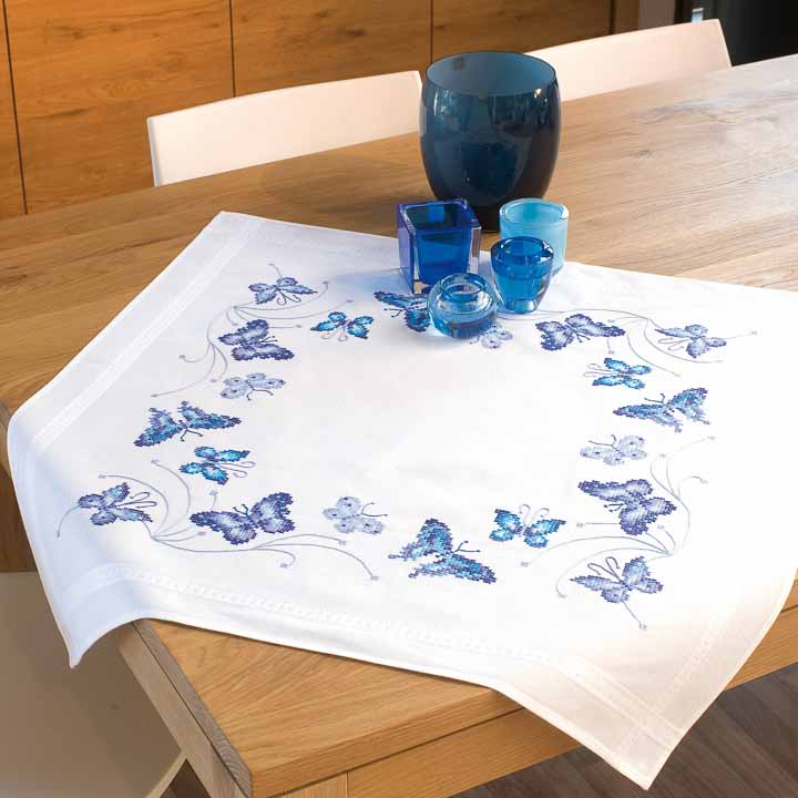 Vervaco Embroidery Kit: Tablecloth: Blue Butterflies Runners and Tablecloth