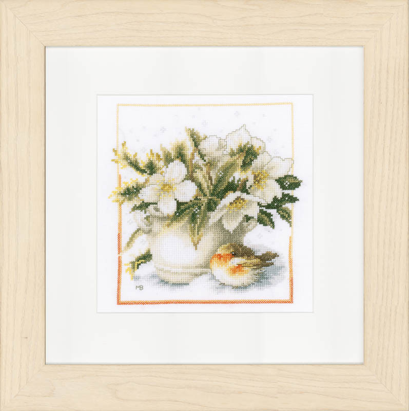 Lanarte Counted Cross Stitch Kit: Sheltering Robin (Evenweave)