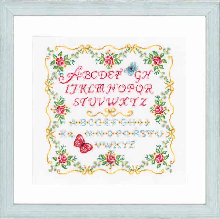 Vervaco Counted Cross Stitch Kit: Alphabet and Roses Characters CSK
