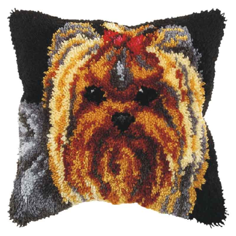 Orchidea Latch Hook Kit: Cushion: Large: Yorkie Latch Hook Cushion Kit