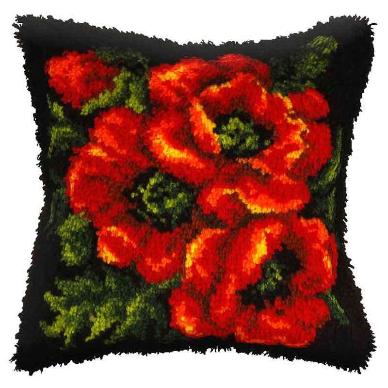 Orchidea Latch Hook Kit: Cushion: Large: Poppy Latch Hook Cushion Kit