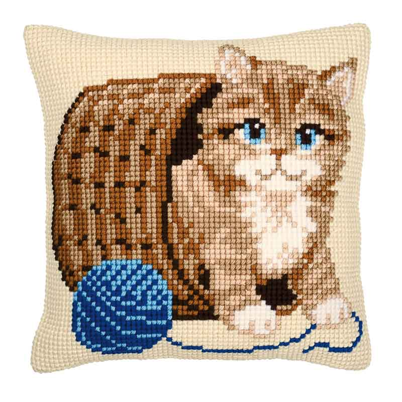 Vervaco Cross Stitch Cushion Kit: Kitten and Wool